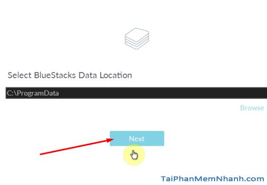 chọn nơi lưu dữ liệu cho bluestacks