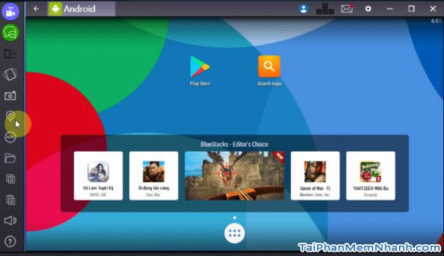 giao diện android trên máy ảo BlueStacks