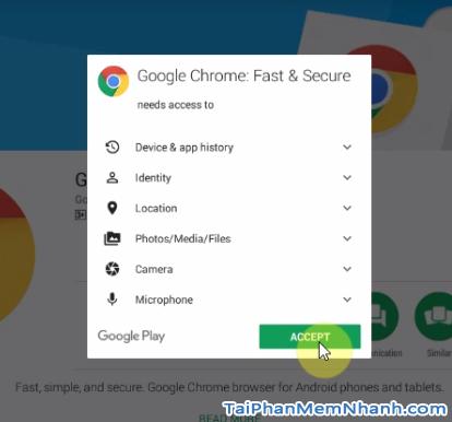 cấp quyền cài đặt trình duyệt Chrome