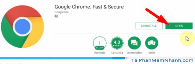 nhấn open để mở trình duyệt Chrome