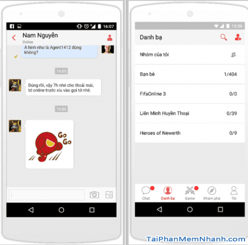tính năng chat, liên hệ trên gas garena mobile - Hình 5
