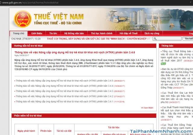trang tải phần mềm HTKK bộ tài chính