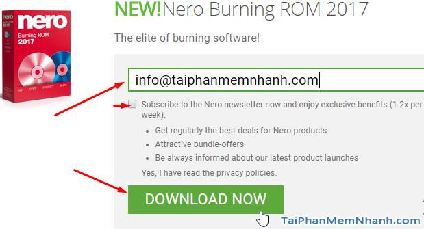 điền email tải nero burning rom