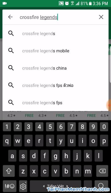 tìm game CF Mobile trên play store