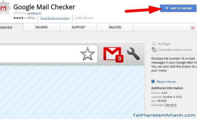 Tiện ích Google Mail Checker