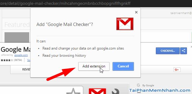 cài đặt Google Mail Checker