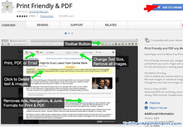 Tiện ích Print Friendly & PDF