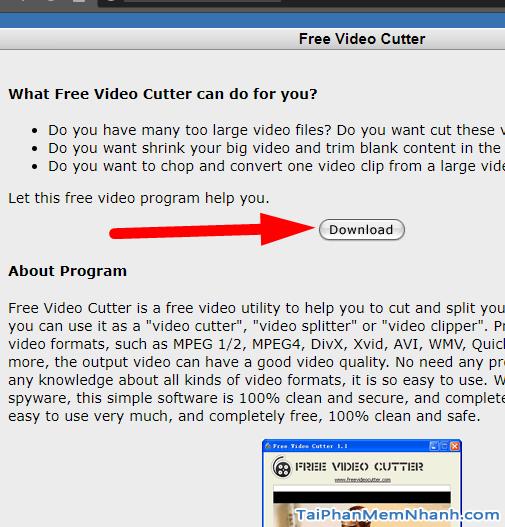 tải free video cutter từ trang chủ