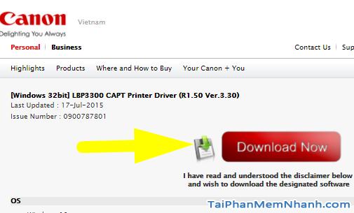 nhấn download để tải về driver canon lbp 3300