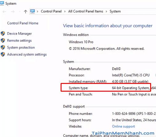 kiểm tra kiểu hệ điều hành 32bit hay 64bit