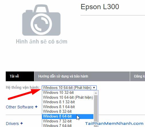 chọn hệ điều hành driver Epson L300 driver