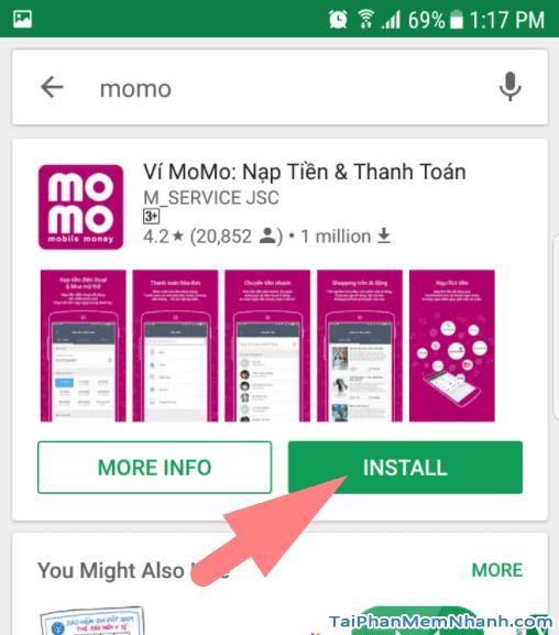 nhấn install hoặc cài đặt để cài ví momo