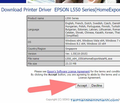 tải driver Epson L550 về máy