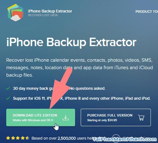 nhấn nút tải iPhone Backup Extrator