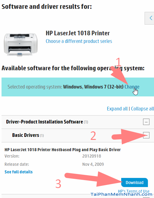 tải driver máy in HP Lajerjet 1018