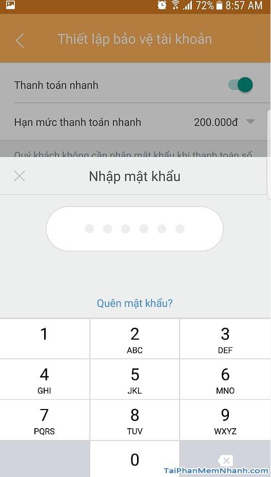 nhập mật khẩu ví MoMo