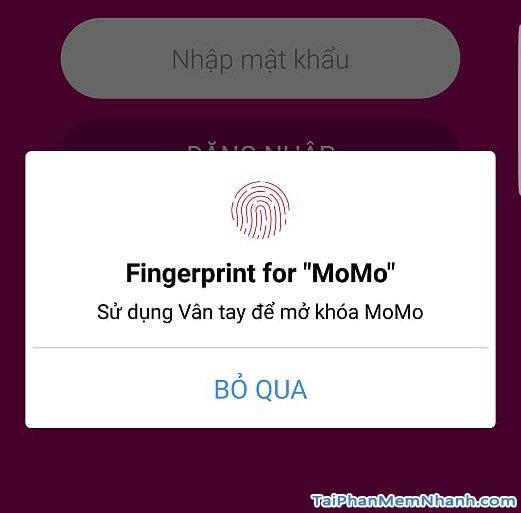 Ví MoMo – Cài đặt xác thực vân tay đăng nhập ứng dụng MoMo