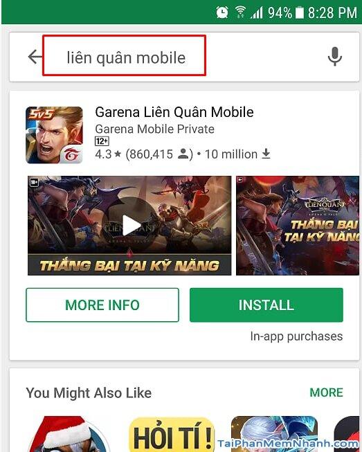 tìm liên quân mobile trên Play Store
