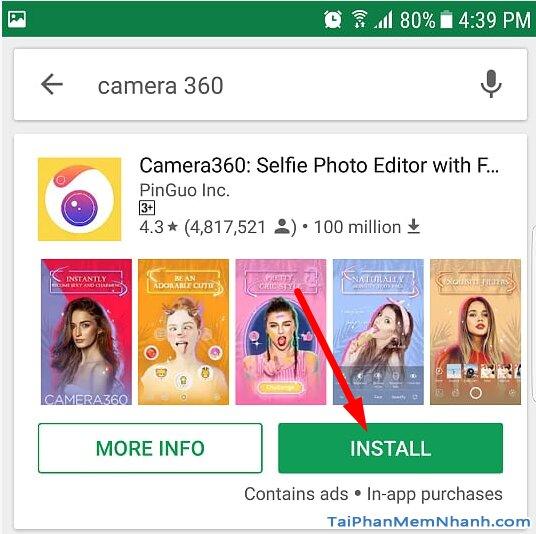 nhấn install để cài đặt camera360