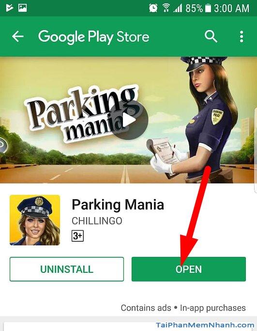 nhấn open để mở game tập lái xe và đỗ xe ô tô