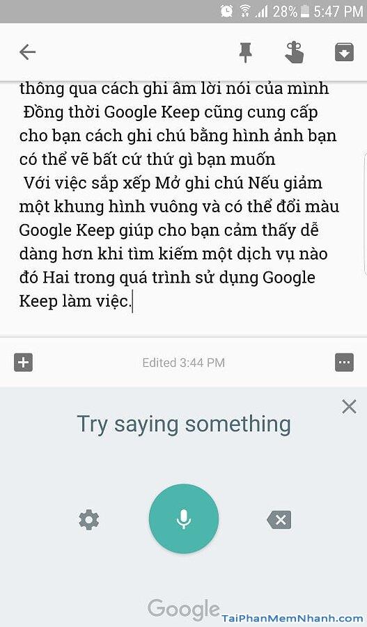 sử dụng Google Keep viết bài