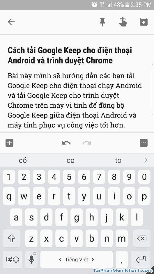 giao diện soạn thảo Google Keep