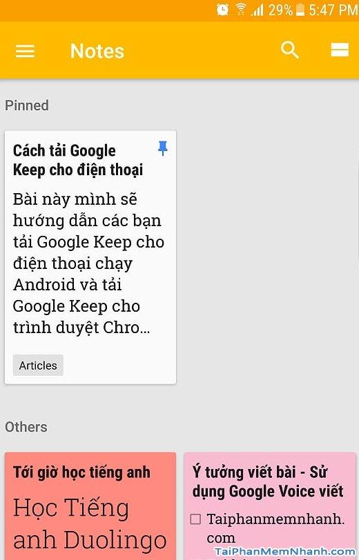 giao diện Google Keep