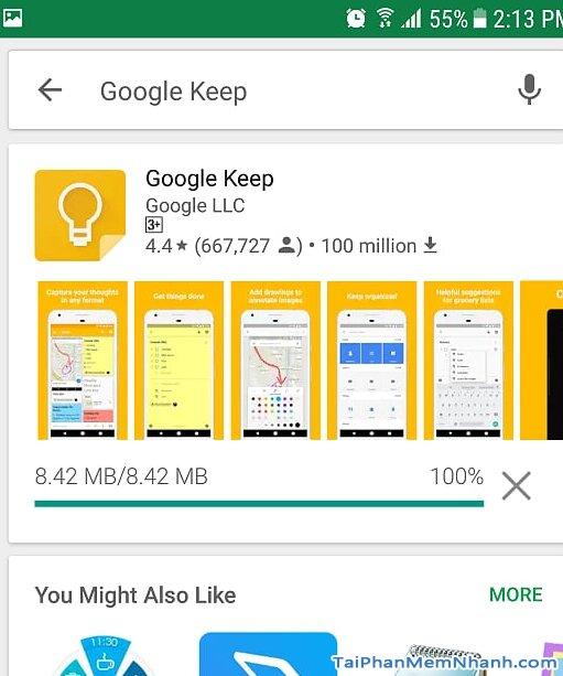 đang cài đặt Google Keep