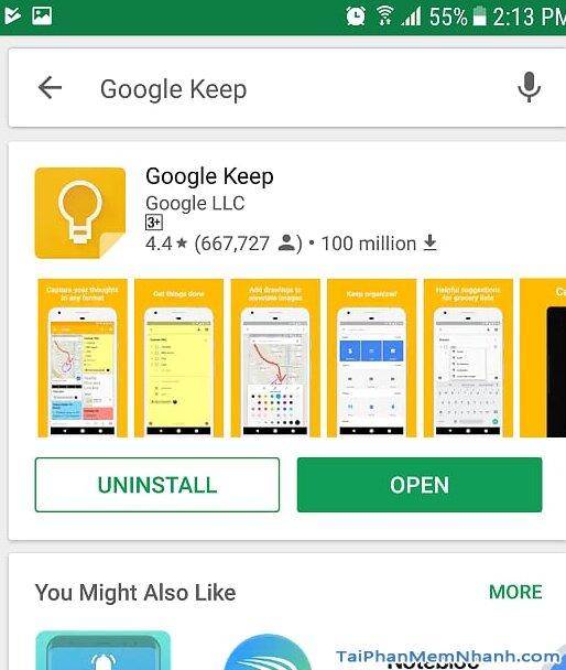 Hoàn tất cài đặt Google Keep