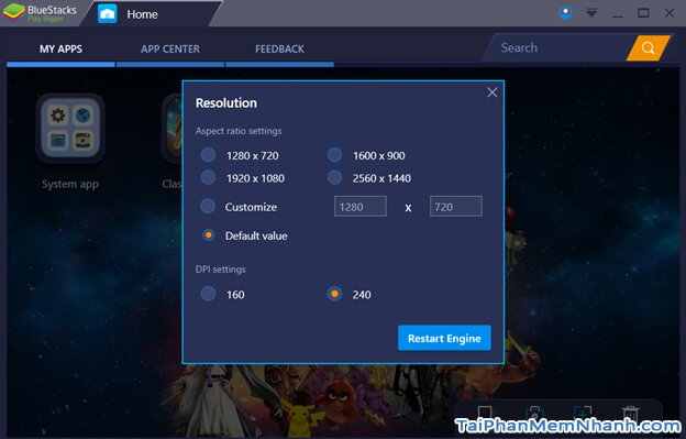 thay đổi kích thước màn hình Bluestacks 3
