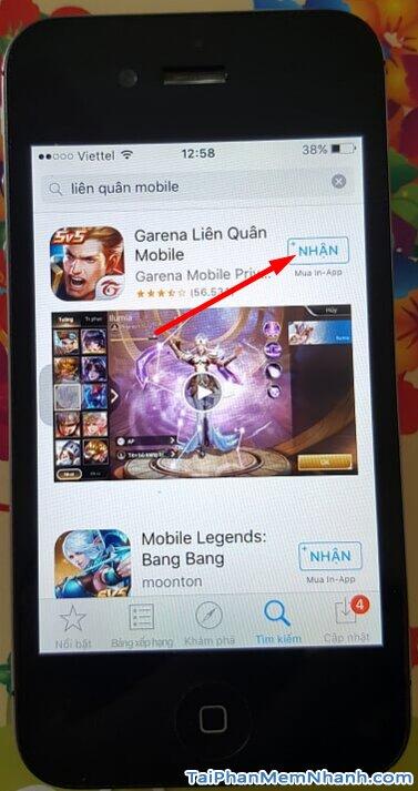 nhấn vào nút Nhận đề cài liên quân mobile cho iPhone 4