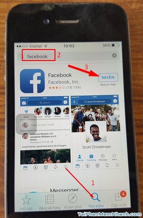 vào app store tìm kiếm facebook