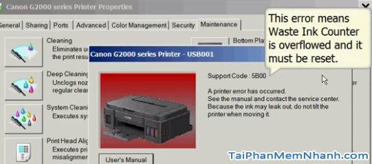 máy in báo lỗi SupportCode 5B00