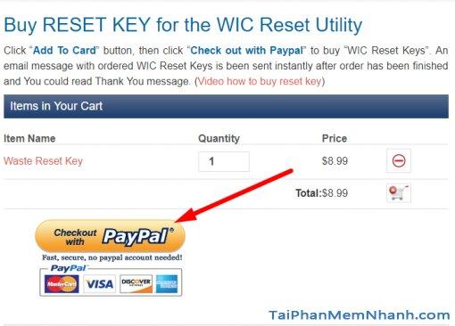 thanh toán tiền mua mã reset key