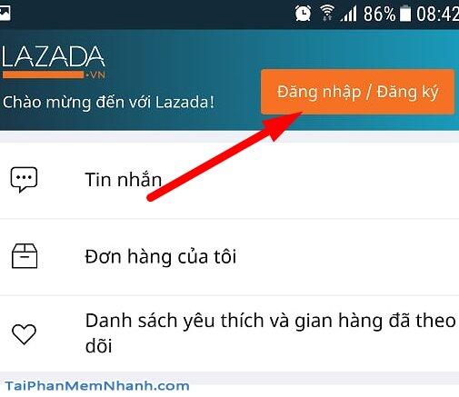 đăng nhập đăng ký lazada
