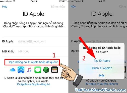 vào phần tạo id apple mới