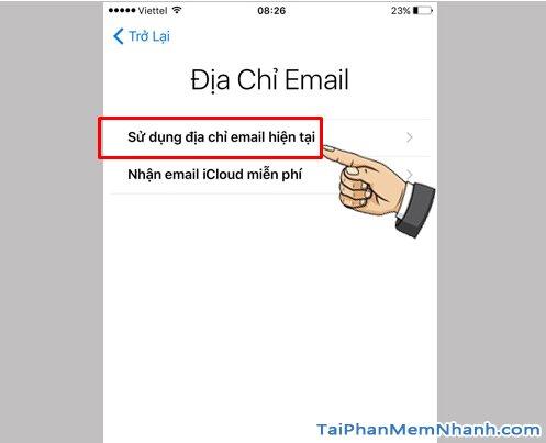 sử dụng email hiện tại để đăng ký ID Apple