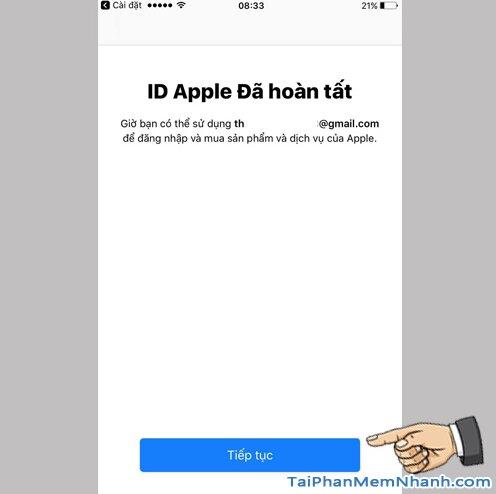 đăng ký ID Apple hoàn tất