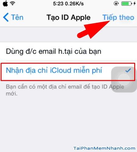 chọn nhận địa chỉ email iCloud miễn phí