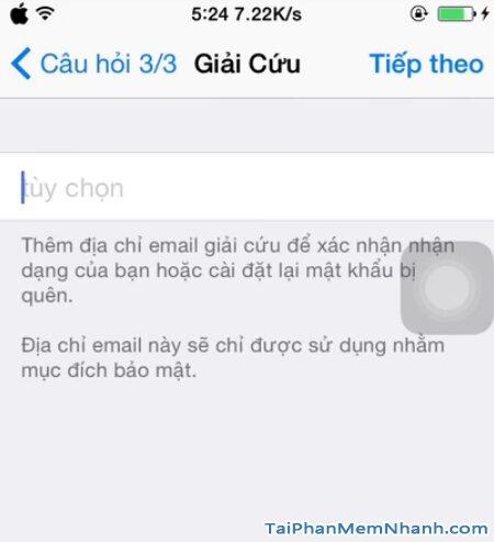 điền email khôi phục tài khoản Apple ID