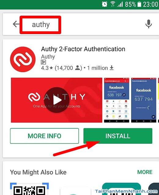 tìm từ khóa Authy ở Google Play Store