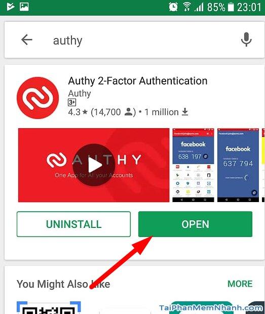 cài đặt ứng dụng Authy thành công