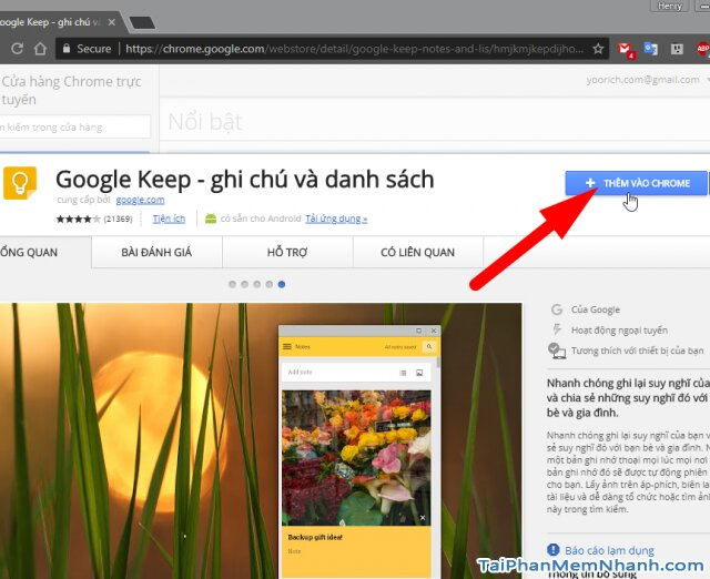 thêm google keep vào chrome