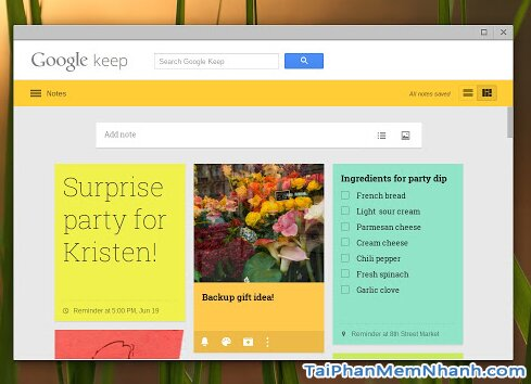 tải google keep cho chrome
