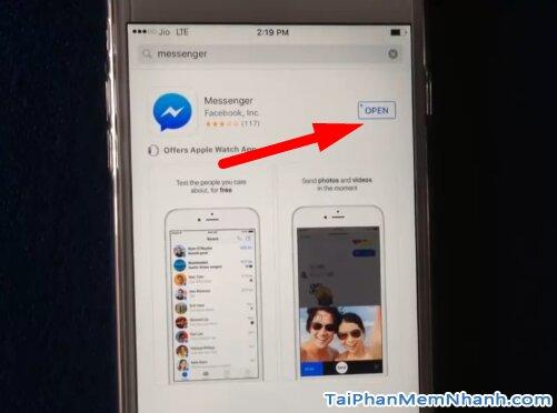 hoàn tất cài đặt Messenger, hãy nhấn Open