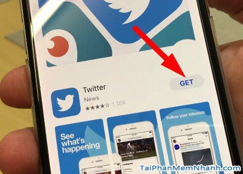 nhấn vào nút GET để bắt đầu cài twitter