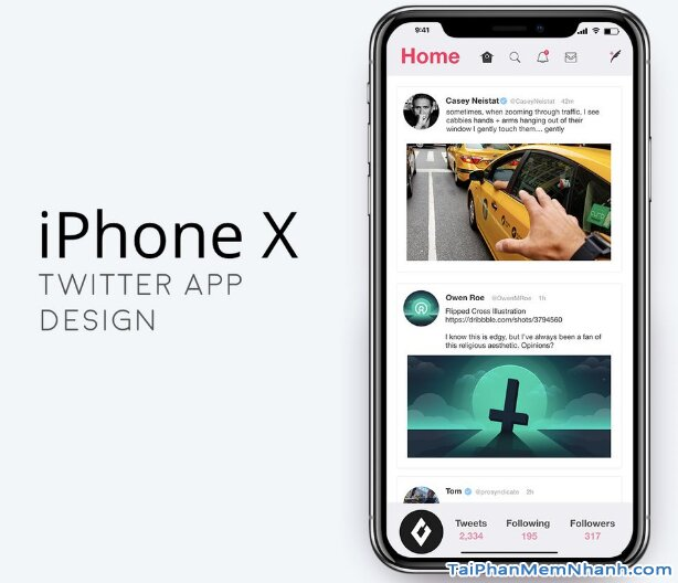 giao diện twitter trên iPhone X