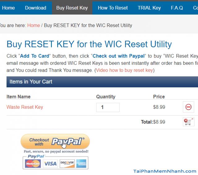 thanh toán mã reset key