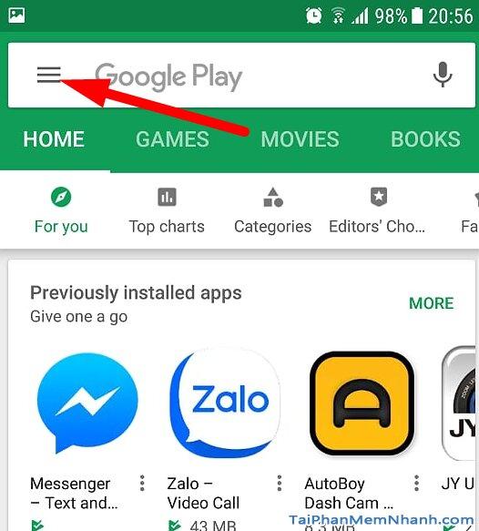 mở phần quản lý ứng dụng của play store