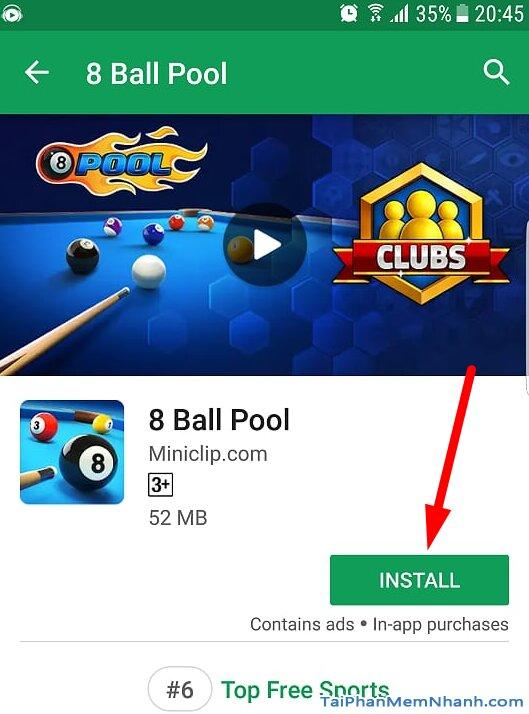 nhấn nút install để cài đặt game 8 ball pool